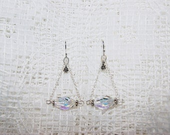 "Aurora Borealis Swarovski Crystal with Sterling Silver Chain Dangle Earrings--""Reflections of Nature"""