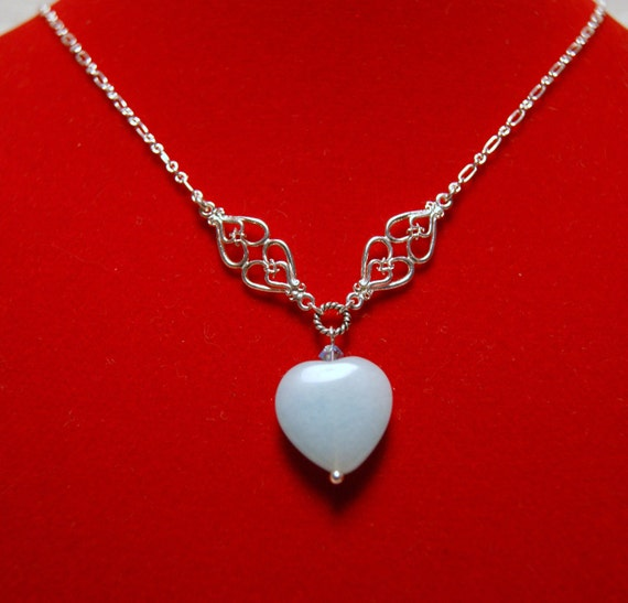 "Amazonite Heart Sterling Silver Fine Chained Necklace--""Heart of Stone"""