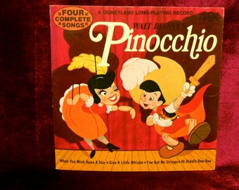"Walt Disney's - PINOCCHIO - 1973 Vintage Vinyl 7"" 33 1/3 rpm Record Album...Four Complete Songs"