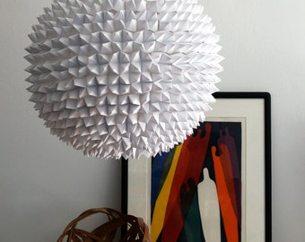 Large Dakota Pendant - White Faceted Folded Paper Hanging Sphere Lamp