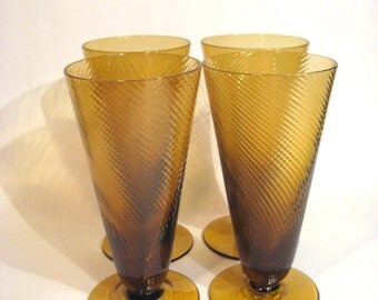Set of Four brown Glasses
