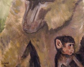 Original wildlife, acrylic painting, Baboon & Baby, 16x20, stretched canvas, art on canvas