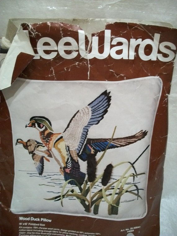 Vintage Crafts, Crewel Embroidery Stitch Kit, Wood Ducks Pillow Kit, Un Finished Project, Leewards Kit