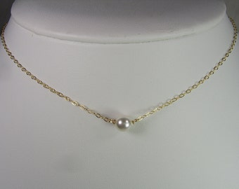 Gold Pearl Necklace Bridal Necklace Pearl Bridesmaid Jewelry Bridesmaid Gift Floating Pearl Necklace Bridesmaid Necklace Wedding Jewelry