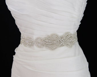 Beaded Bridal Sash,wedding dress sash,rhinestone belt, bridal belt, beaded belt, crystal sash, wedding belt, Vintage weddings,dress belt
