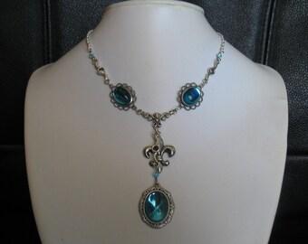 Necklace Fleur de lys Victorian /Medieval / Renaissance/ Costume/ COLOR CHOICE/ BM233