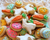 Easter Cookie Nibbles -3 Dozen Miniature Bunny, Carrot, Egg Cookies