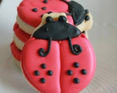 A Dozen Lady Bug Vanilla Sugar Cookies