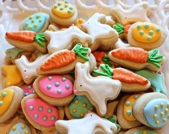 Easter Cookie Nibbles -3 Dozen Miniature Bunny, Carrot, Egg Cookies