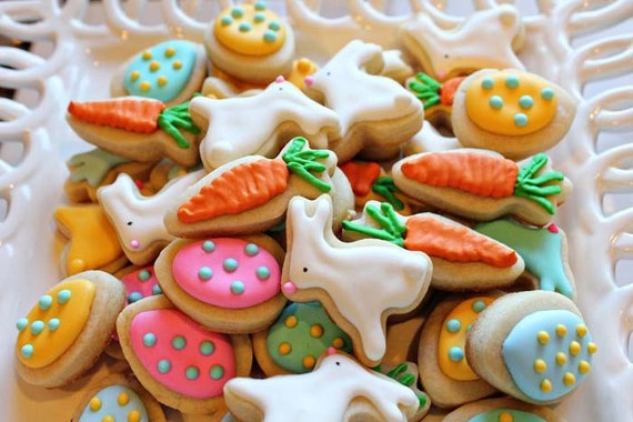 READY TO SHIP Easter Cookie Nibbles -3 Dozen Miniature Bunny, Carrot, Egg Cookies