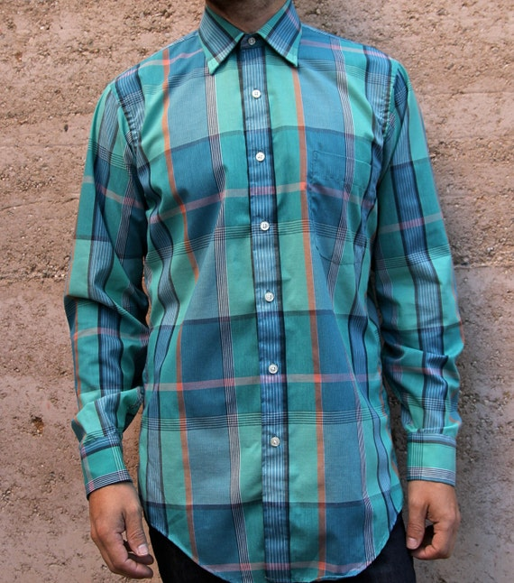 90s OXFORD bright summer color block  plaid shirt FITTED button up down