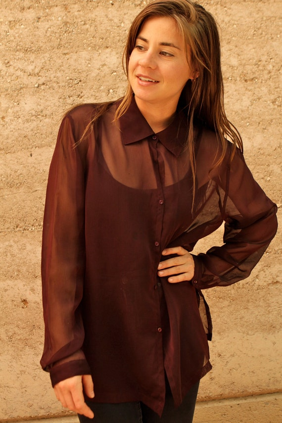 90s Sheer Wine Color Oversize Blouse Dress Shirt By Ziavintage