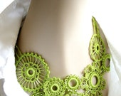 Green Crocheted Beaded Necklace Featured in Vogueknitting Crochet 2012 Special Collector's Issue
