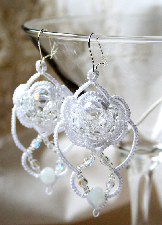 White Tatted and Beaded Earrings