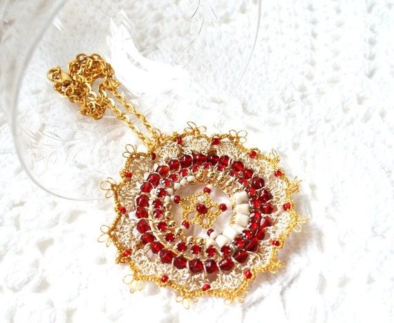 Crochet Tatting Lace Pomegranate Pendant with Red and White Glass Beads