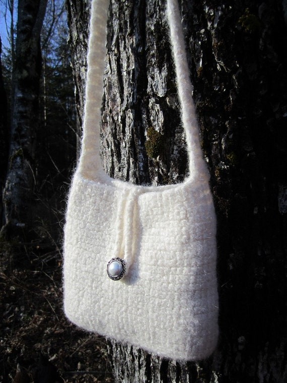 Small purse, natural white, pretty felted wool handbag