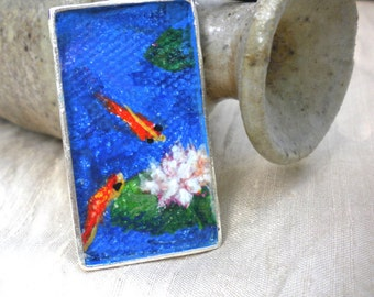 Koi Necklace Hand Painted Carp Pendant Zen Goldfish Painting Japanese Pond Water Lily Art Jewelry Tiny Handpainted Original  Meditation