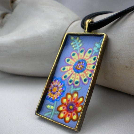 Yellow Daisy Necklace colorful daisies choker bright flower garden jewelry hand painted