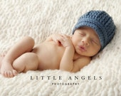 Baby Boy Blue Newsboy Hat Crochet Pattern (438)