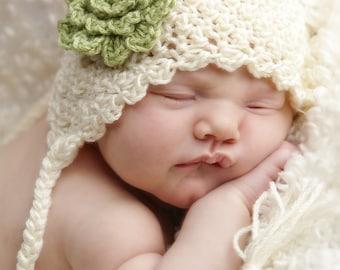 Soft Shells Baby Ear Flap Hat Crochet Pattern (428)