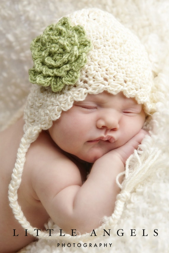 Soft Shells Baby Ear Flap Hat Crochet Pattern (428)