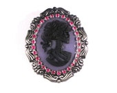 Gothic Lolita Skeleton Cameo Brooch with Magenta Accents