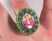 Barbie Cameo Ring-Green or White, Your Choice