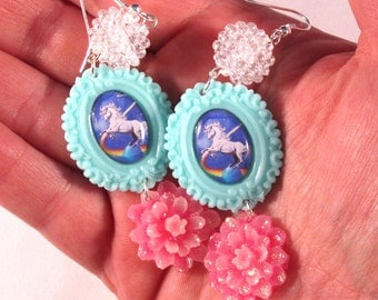 Lisa Frank Style Unicorn Cameo Earrings with Pink Glitter Flowers