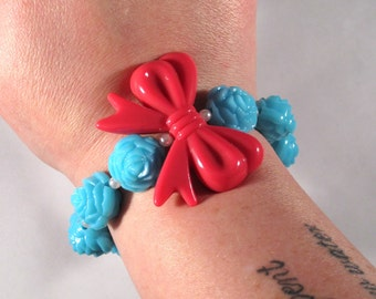 Shabby Chic Carved Rose Bracelet with Big Pink Bow