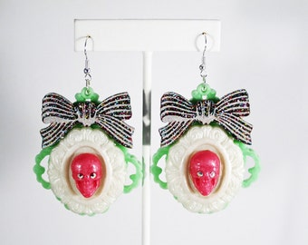 Hot Pink Swarovski Skull Earrings with Glittery Acrylic Bow Accent