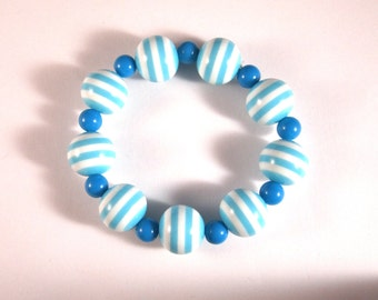 Rockabilly Nautical Blue Striped Stretchy Bracelet