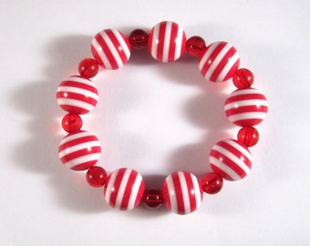 Rockabilly Nautical Red Striped Stretchy Bracelet