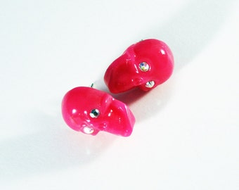 Pink Punk Blinged Out Skull Stud Earrings with Crystal Accents