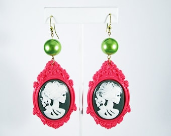 ON SALE - Lady Death Cameo Dangle Earrings-Salmon and Green or Gray and Pink - You Choose