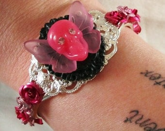 Punk Rock Pink Skull Cameo Cuff Bracelet with Aluminum Roses and Rhinestone Accents