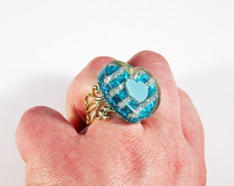 Glitter Heart Ring Teal and Silver Stripes on Gold Base