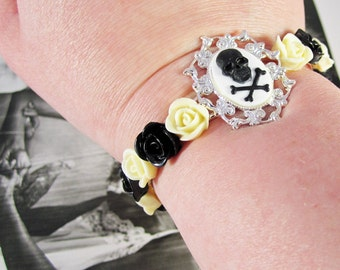 Skull Cameo Cuff Bracelet with Ivory and Black Lucite Roses