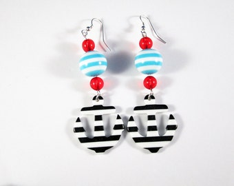 ON SALE - Sailor Girl Dangle Earrings with Acrylic Anchor Charms and Red, White and Blue Beads