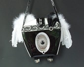 Steampunk Goth handbag, Black and White angel purse, Steampunk goth purse, Neo Victorian accessory