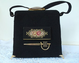 Formal Black silk purse, vintage silk handbag, couture, compact mirror on front, brass adornments, Layaway Plans