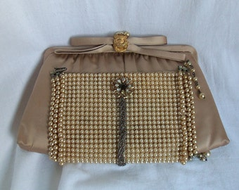 Champagne Clutch purse, pearl beading, Haute Couture, Victorian Charm Wedding clutch bag, La Marelle Couture Layaway Plans