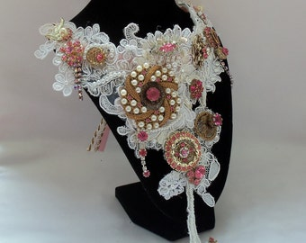 Statement Pink necklace, Victorian Noir Bridal Neck Piece, wedding bib, beaded lace with vintage pink rhinestone pieces, OOAK, glamor piece