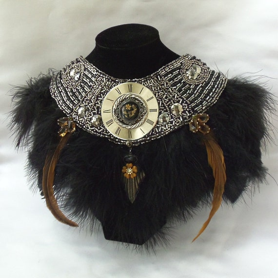 Black Beaded Feather Necklace, Glamorous Steampunk Statement Necklace, Haute Couture Black Collar, OOAK, La Marelle Couture