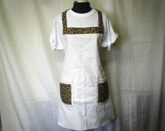 BOGO FULL BIB Apron Handmade Fawn Calico on Ivory