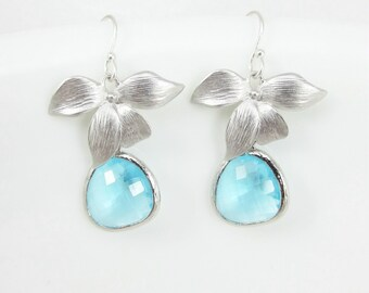 Orchid Earrings, Aqua Earrings, Framed Aqua Glass, Wedding, Bridesmaid Gifts