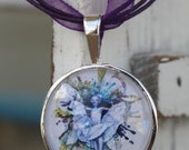 Brian Frauds Pressed Fairy silver and glass pendant with organza necklace