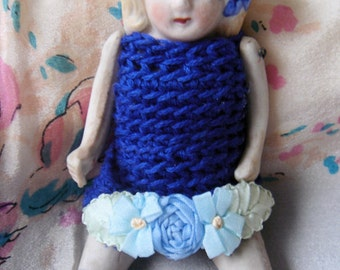 1940's Bisque Doll-Crochet Blue Dress