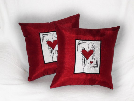 Red Heart Throw Pillows Scarlet Heart 14x14 inch decorative pillows (set of 2)  garnet throw cushion Valentine's Day gift