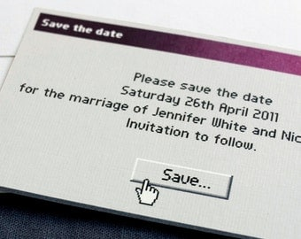 "Funny / geek / Save the date card / Unusual Std / ""Save As..."""