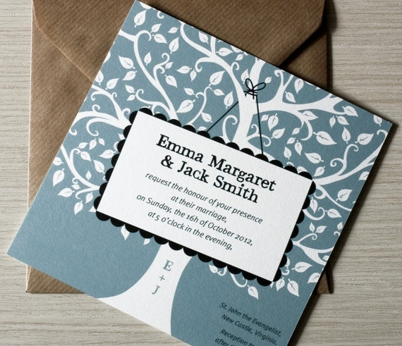 Tree Wedding Invitations: Oak Tree Wedding Invitation / Oak Tree Rustic Invites